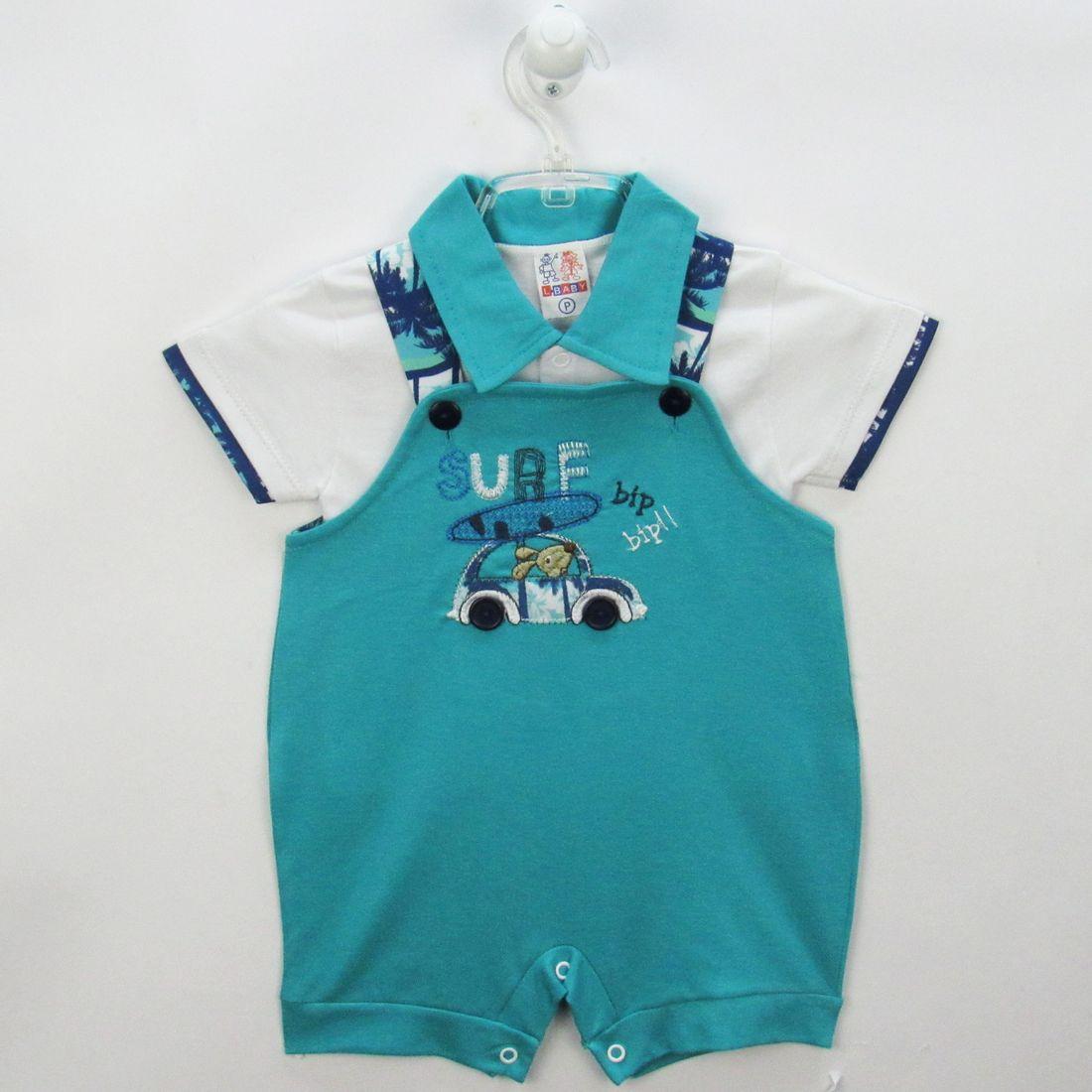 Jardineira Bebê Masculina Curta Malha Verde Mar e Camiseta ... 56f7418e894
