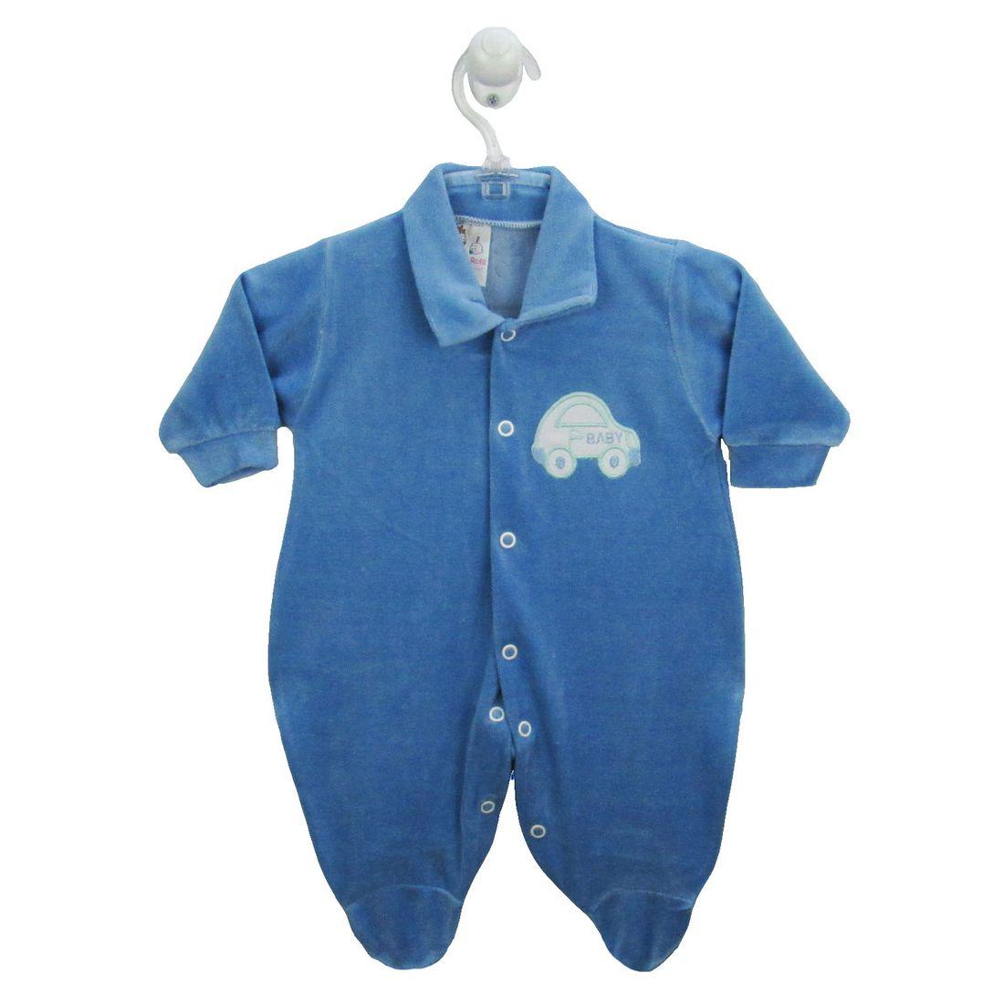 Macacão Bebê Masculino Longo Plush Bordado Azul Claro Carrinho ... 38ab4ccbe7d