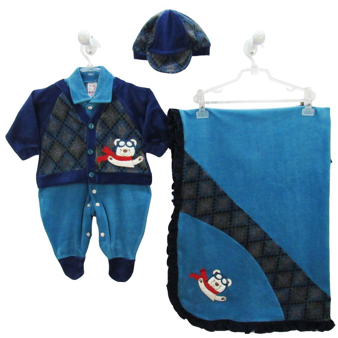 Saída de Maternidade Masculina Plush com Boné Azul Turquesa e ... eae1b981fc7