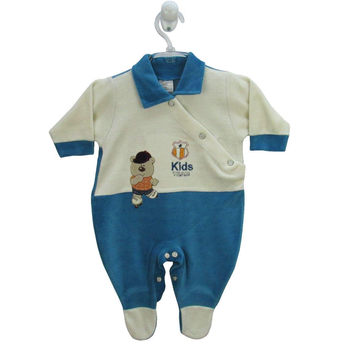 Macacão Bebê Masculino Longo Plush Creme e Azul Turquesa ... 825a76a926f