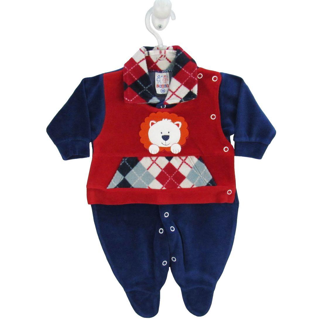 fc3d2675c2b820 Macacão Bebê Masculino Longo Plush Azul Marinho e Vermelho ...