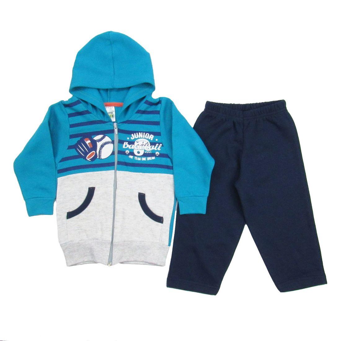 Conjunto Bebê Masculino Inverno Moletom com Capuz Azul Turquesa e ... 9ce80503bbe72