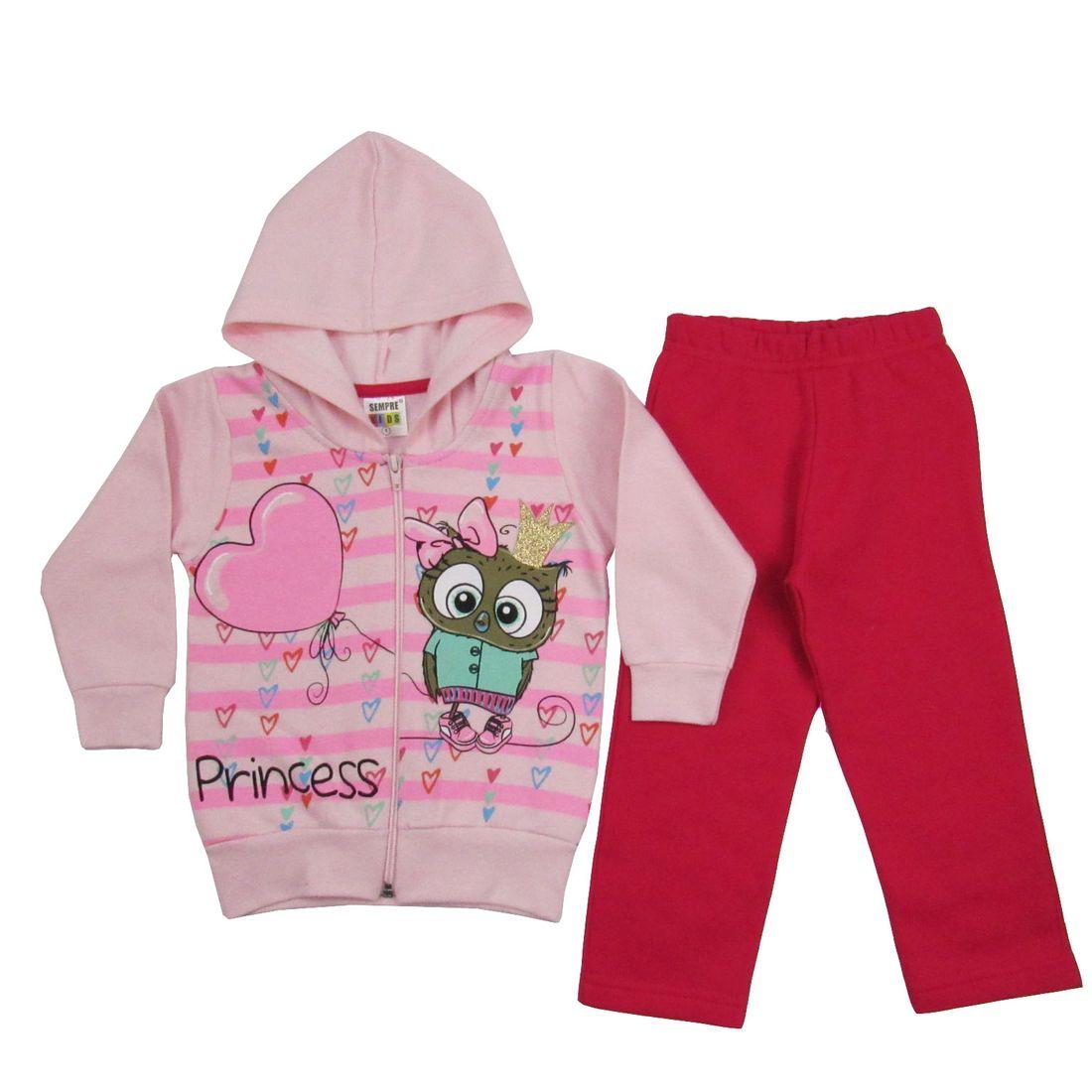 Conjunto Bebê Feminino Inverno Moletom com Capuz Rosa e Pink ... 6b6cc2b19355d