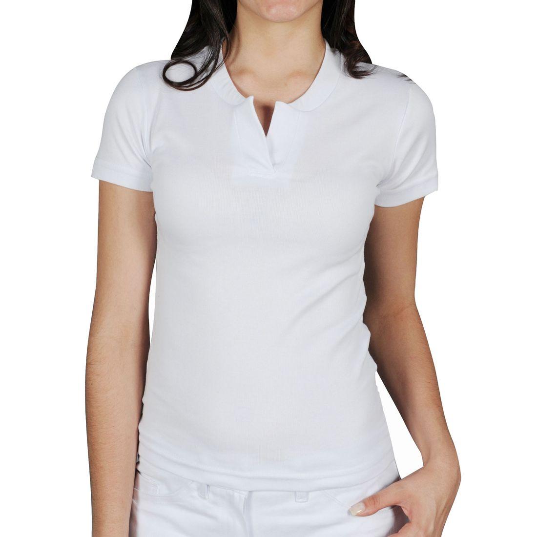 be2582939a Camiseta Canelada Manga Curta Feminina Gola Padre Branca ...
