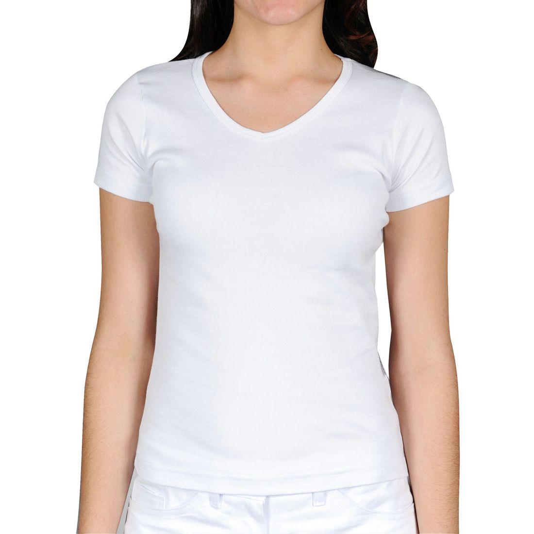 Camiseta Canelada Manga Curta Feminina Gola V Branca - poetique 1e2b57cc5f432