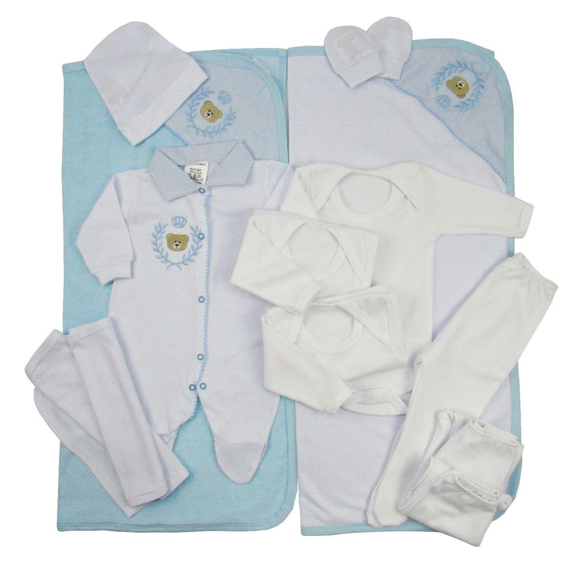 Enxoval Maternidade Masculino Azul Claro com 13 Peças - poetique db0c82aadae12