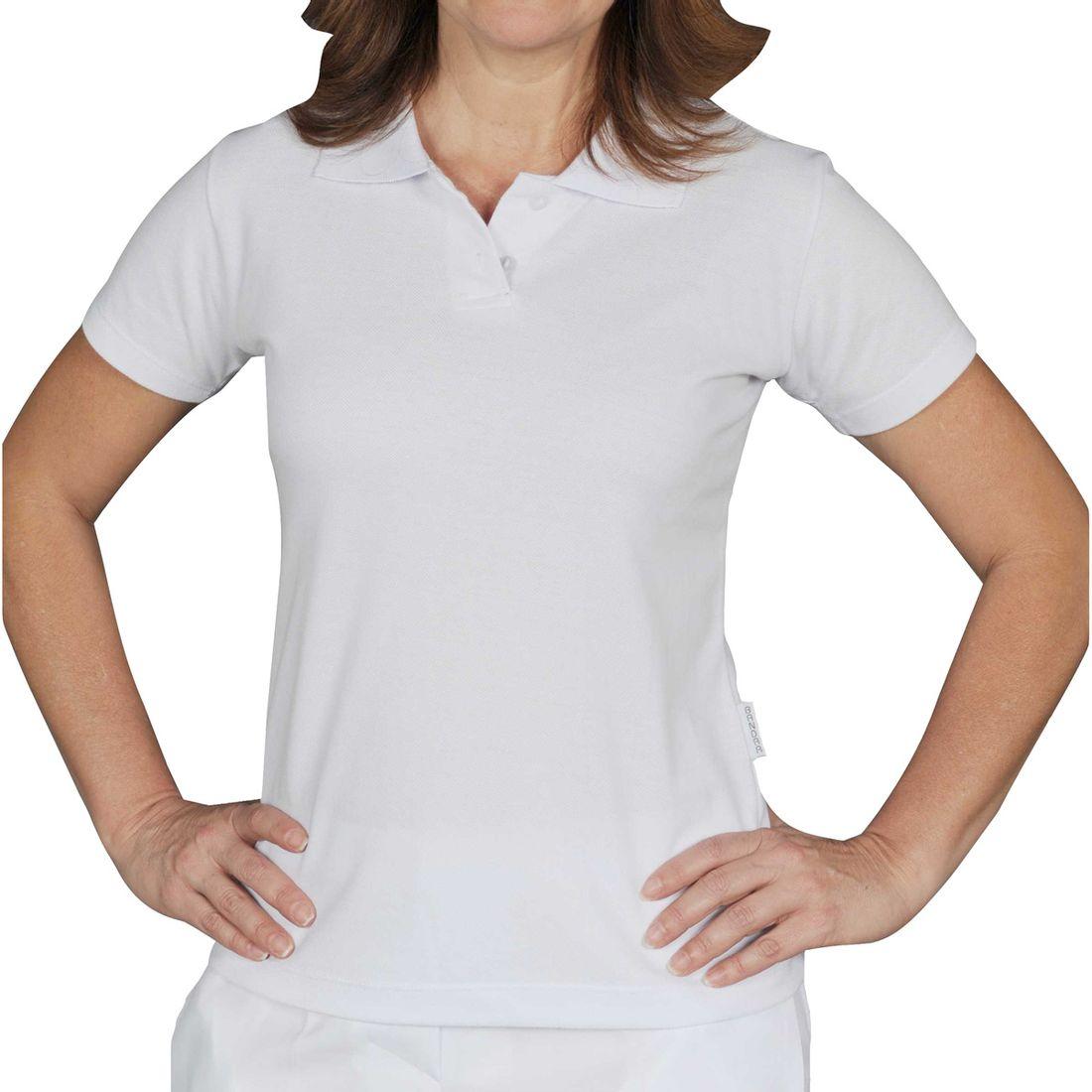 Camiseta Polo Branca Piquet Feminina Manga Curta e18a440f8813c