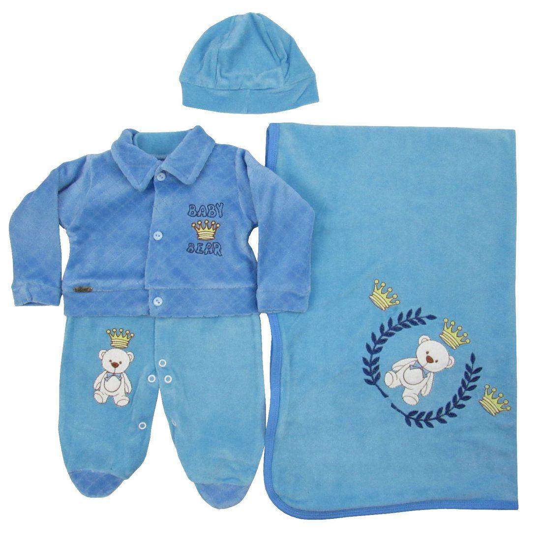 Saída de Maternidade Masculina em Plush Azul Claro - poetique 2200a46a819
