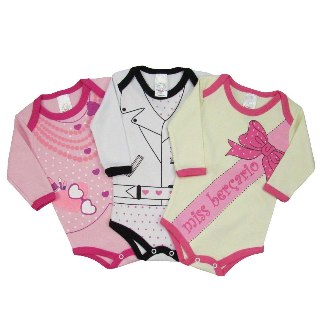 2353a6b42 Body Bebê Manga Longa Feminina Frases Divertidas Kit com 3 ...