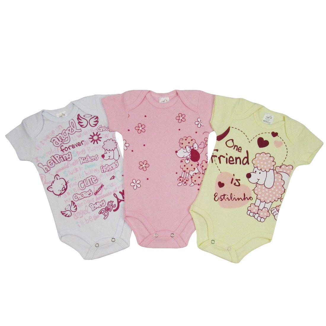 Body Bebê Feminino Manga Curta Kit com 3 Unidades Cachorrinhos ... fc1ffe7e4c4