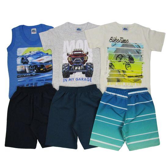 3fcfb16da Conjunto Masculino Infantil Verão Kit com 3 Unidades Azul Claro, Cinza e  Creme