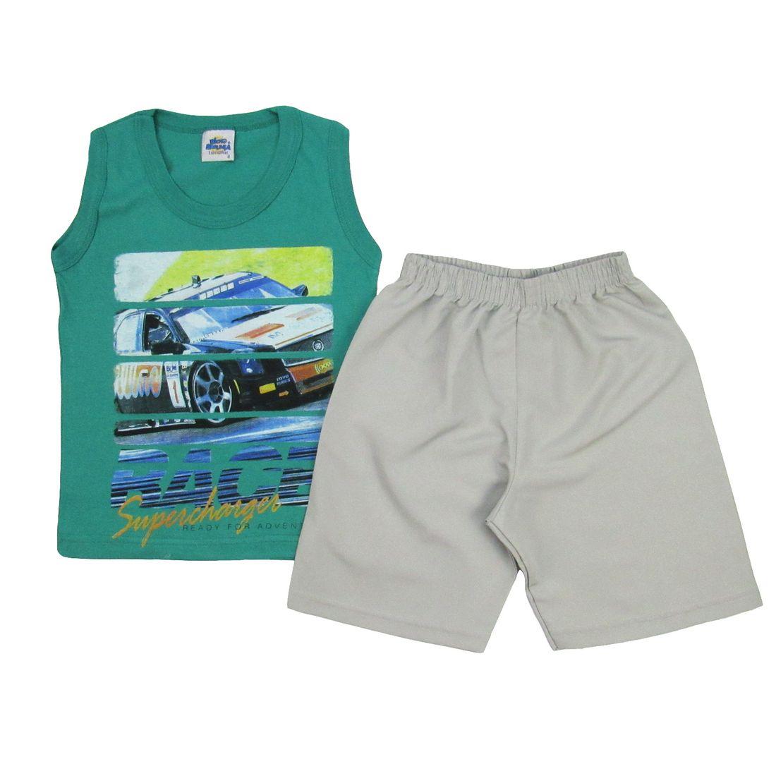 Conjunto Masculino Infantil Regata Verde e Bermuda Cinza - poetique deb21aca202
