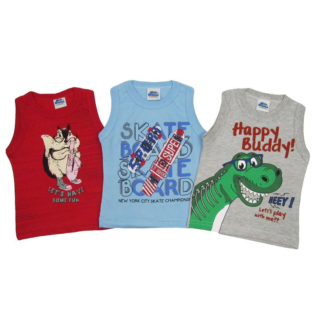 Camiseta Regata Bebê Masculina Kit com 3 Unidades Vermelha b9fb12cb8bb