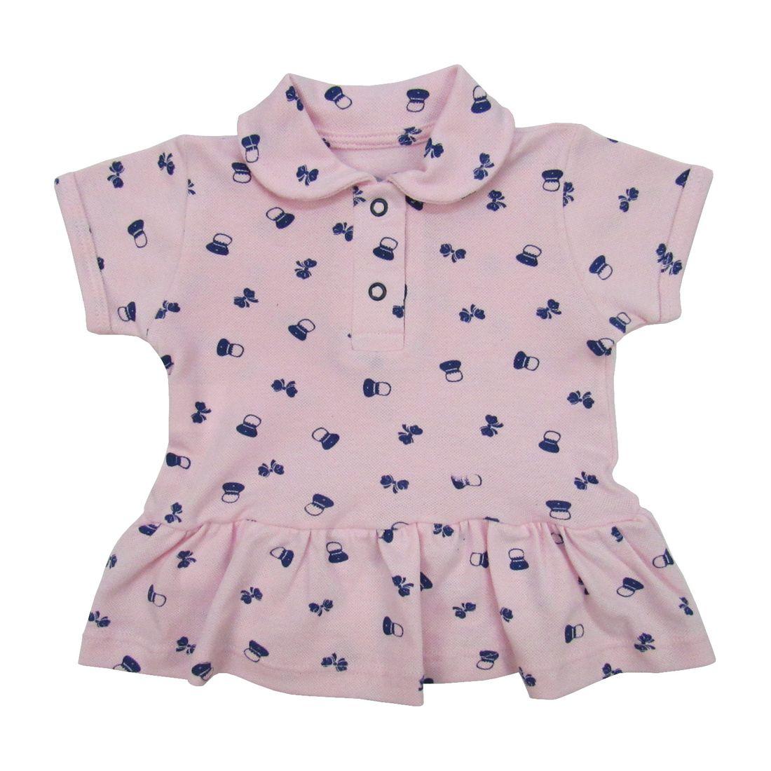 71108841f Body Vestido Bebê Manga Curta Rosa em Malha Piquet - poetique