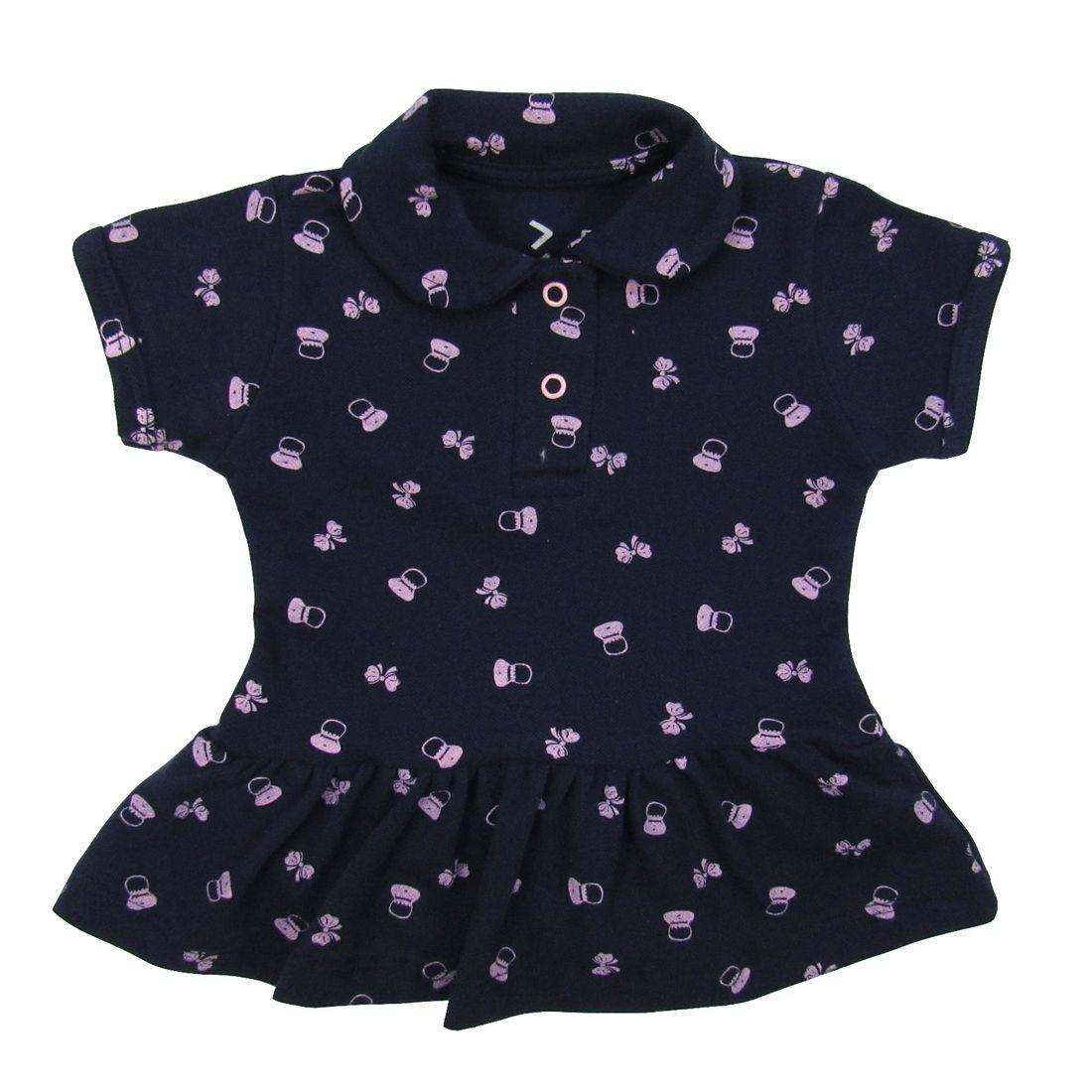 500460378 Body Vestido Bebê Manga Curta Azul Marinho em Malha Piquet ...