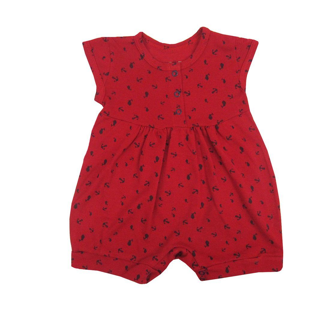 270d5e5d9 Macacão Bebê Feminino Manga Curta Vermelho em Malha Piquet ...