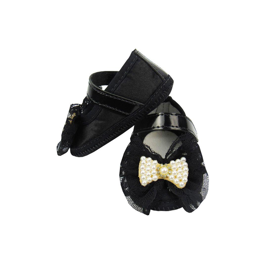 e844cc5a0 Sapato Bebê Feminino Preto com Laço de Renda e Pérolas