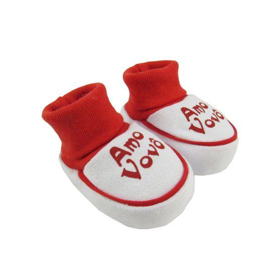 Pantufa-Bebe-Unissex-Suedine-Amo-Vovo-Vermelha-SB-24a