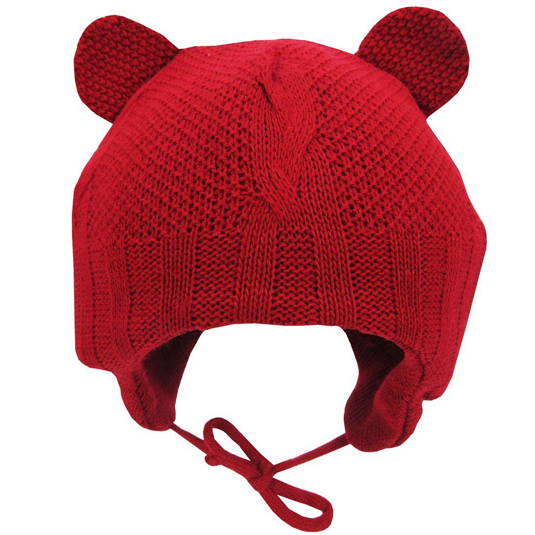 cdf6d69313805 Touca Bebê Unissex Vermelha com Proteção para Orelha - poetique