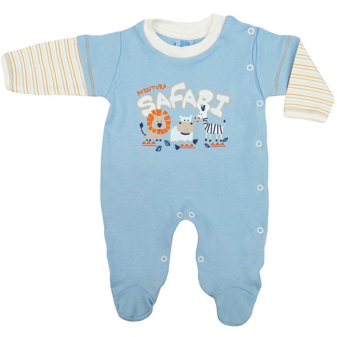402fa0db7823ef Macacão Bebê Masculino com Pé em Suedine Azul Claro - poetique