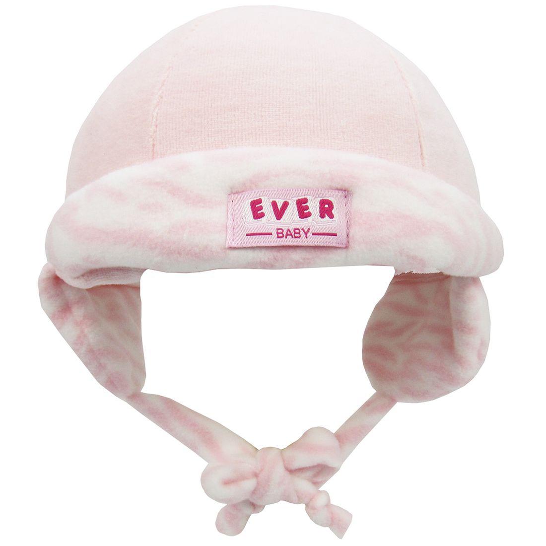 ac3c4d83d2ab1 Touca Bebê Feminina em Plush Rosa com Proteção de Orelha ...