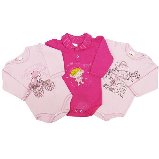 Body-Bebe-Feminino-Manga-Longa-Rosa-Pink-Rosa-Kit-com-3-Unidades-PP-1116aa