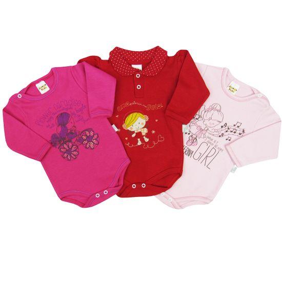 Body-Bebe-Feminino-Manga-Longa-Pink-Vermelho-Rosa-Kit-com-3-Unidades-PP-1116ca
