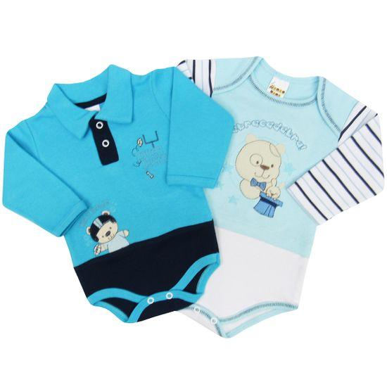 Body-Bebe-Masculino-Manga-Longa-Azul-Turquesa-Azul-Claro-Kit-com-2-Unidades-PP9488aa