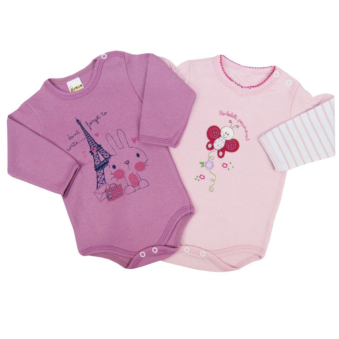 3cbc3c100e93af Body Bebê Feminino Manga Longa Uva e Rosa Kit com 2 Unidades ...