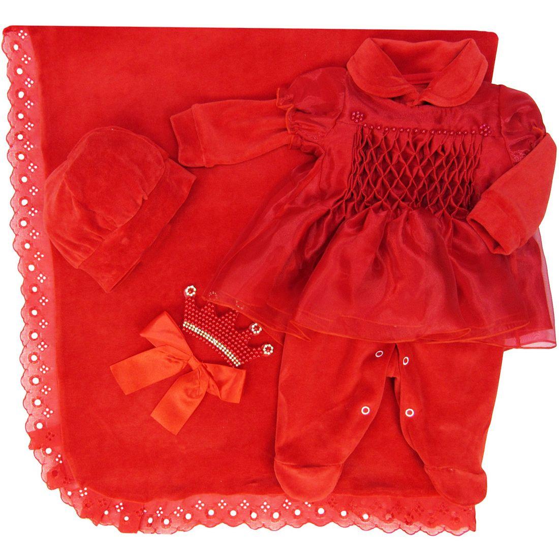 Saída de Maternidade Feminina em Plush Vermelho - poetique 792981b771b