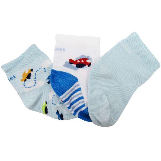 Meia-Puket-Masculina-Bebe-Azul-Branco-Estampado-Kit-com-3-Unidades-P-010101055a