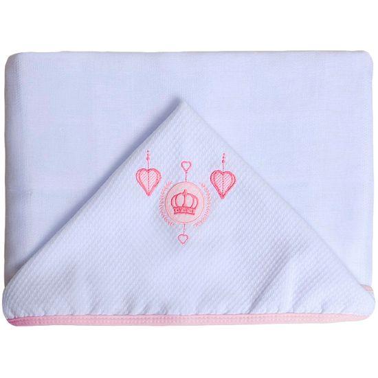 Toalhao-de-Fralda-com-Capuz-Feminino-Coroa-Branco-Rosa-P-1155ba