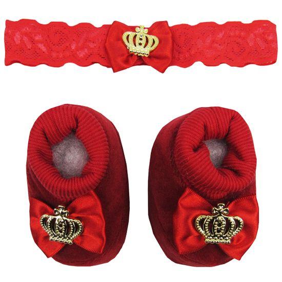 Pantufa-Bebe-Feminina-Malha-com-Faixa-para-Cabelo-Vermelha-Coroa-Dourada-MB-204012ea
