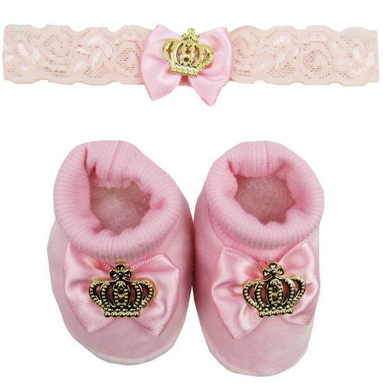 Pantufa-Bebe-Feminina-plush-com-Faixa-para-Cabelo-rosa-Coroa-Dourada-MB-204012fa