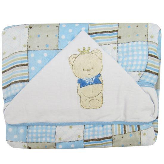 Toalha-Fralda-de-Banho-Masculino-com-Capuz-Patchwork-Azul-Urso-I-04063313010002aa