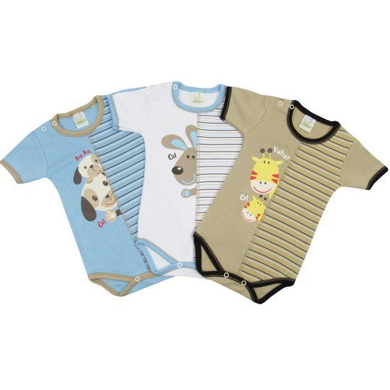 Body-Bebe-Masculino-Manga-Curta-Bichinhos-Kit-com-3-Unidades-NB-852a