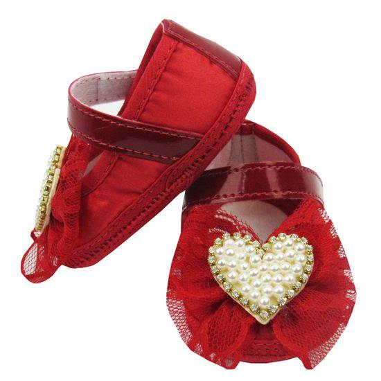 76876c06c Danda-19.1a DANDA NENÊ Sapato Bebê Feminino Vermelho com Laço Renda e  Coração de Pérolas