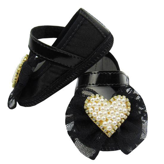a8ee2a275 Danda-22.1a DANDA NENÊ Sapato Bebê Feminino Preto com Laço Renda e Coração  de Pérolas