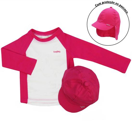Camiseta-Bone-E-009kd EVERLY Camiseta Bebê Manga Longa Pink com Boné Proteção  UV ... 7c001888ed9