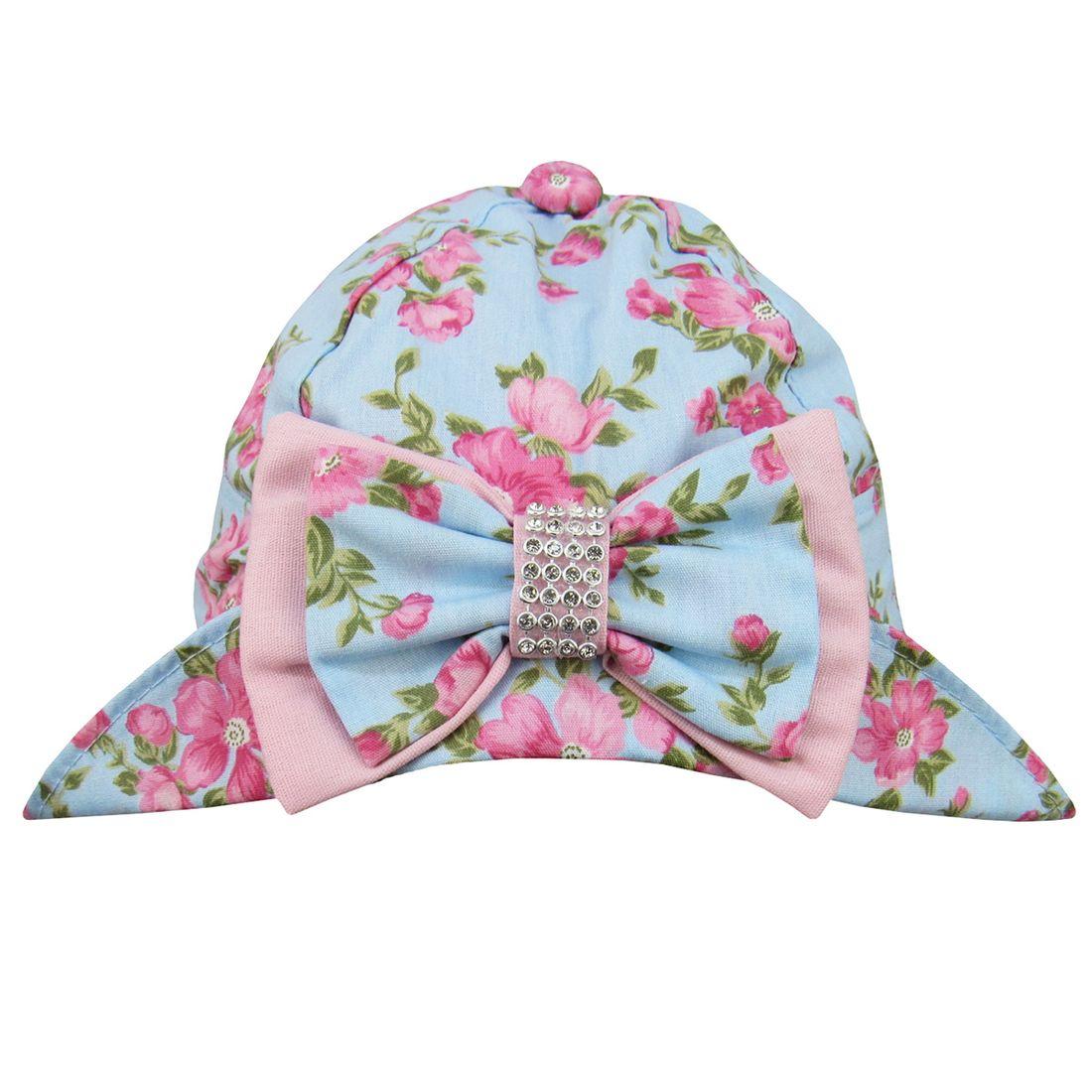 Chapéu Bebê Feminino Azul Floral - 5 à 8 Meses - poetique 67668b34964