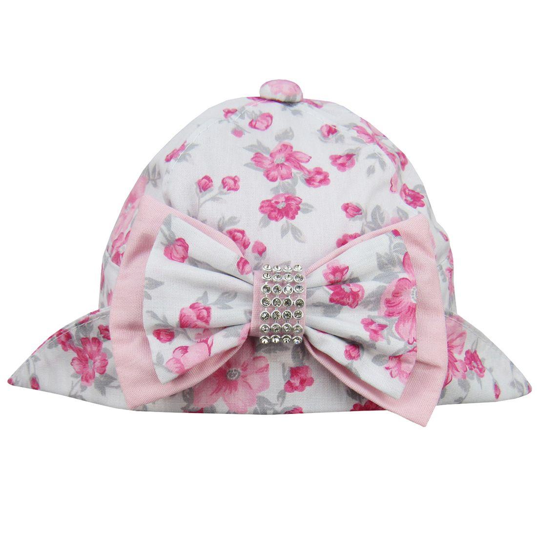 Chapéu Bebê Feminino Branco Floral - 5 à 8 Meses - poetique 151d2206934