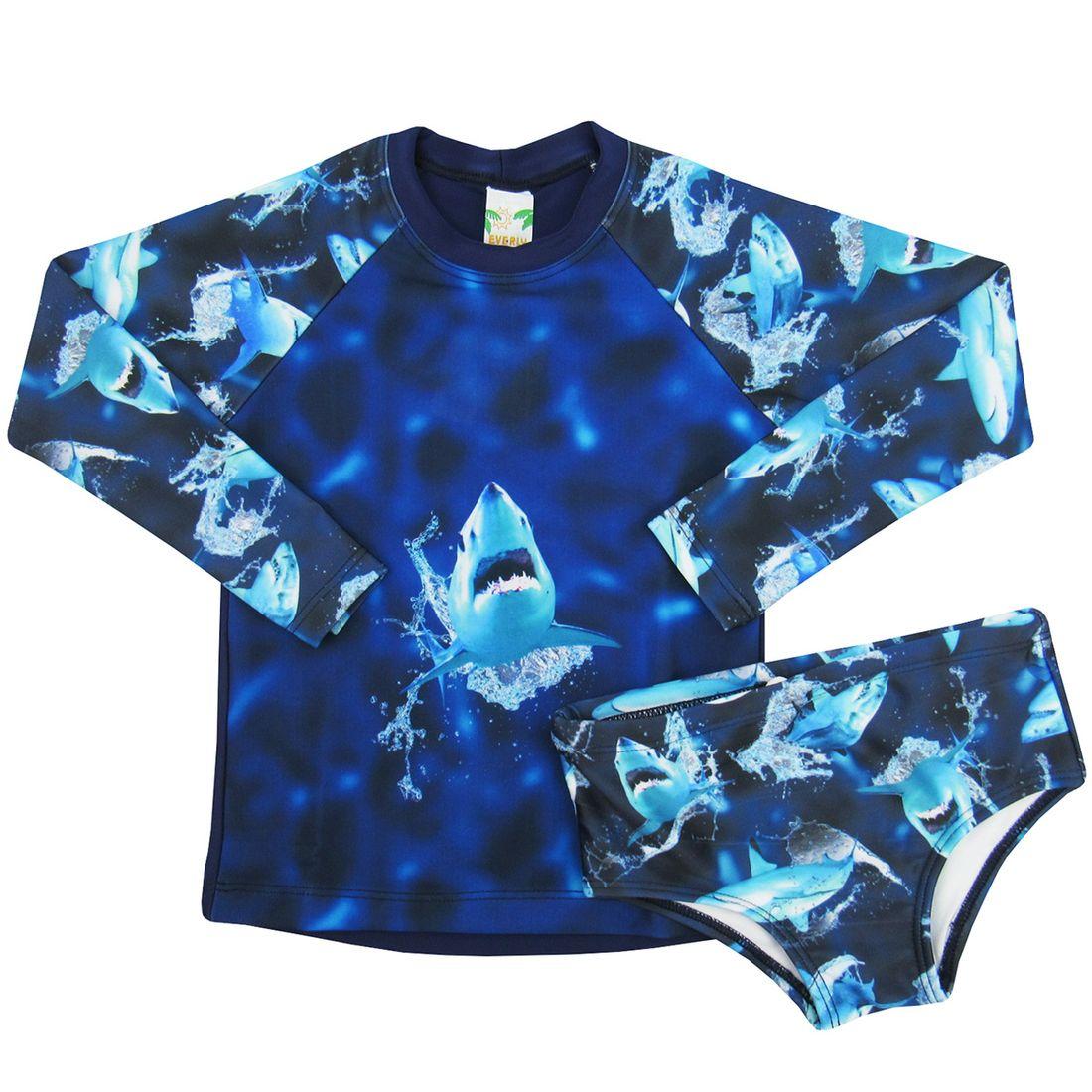 1737d7e577 Camiseta Infantil Manga Longa com Sunga Proteção UV 50+ Tubarão ...
