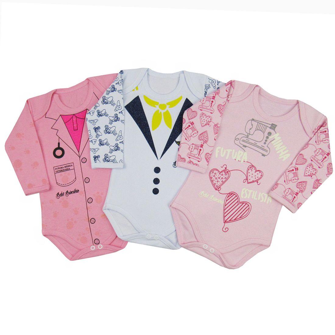 93c71c7420a Body Bebê Feminino Manga Longa Kit com 3 Unidades - poetique