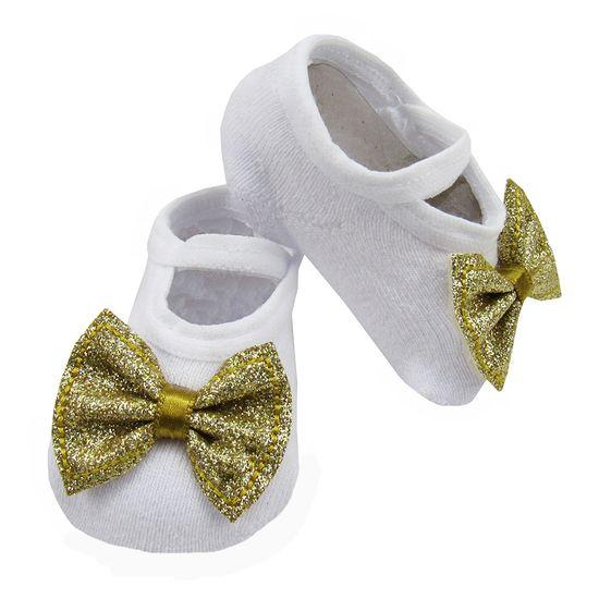 Meia-Bebe-Feminina-Branca-com-Laco-Dourado-W-170.027aa