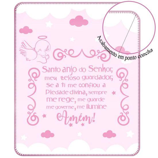 Cobertor-Feminino-com-Estampa-Localizada-Anjinho-da-Guarda-Rosa