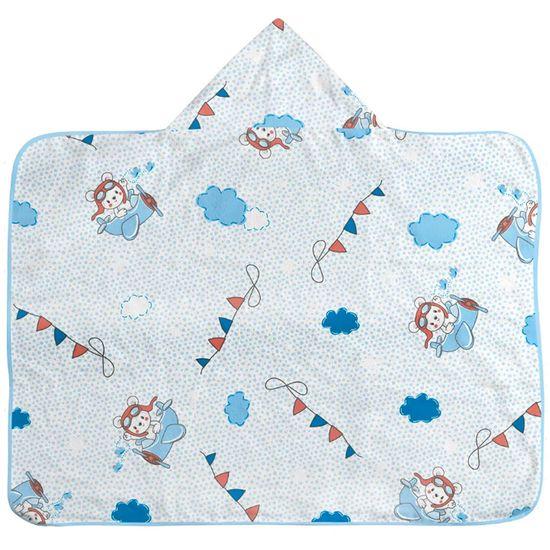 Toalha-de-Banho-com-Capuz-Masculina-Azul-Clara-Estampada-Ursinho-Aviao
